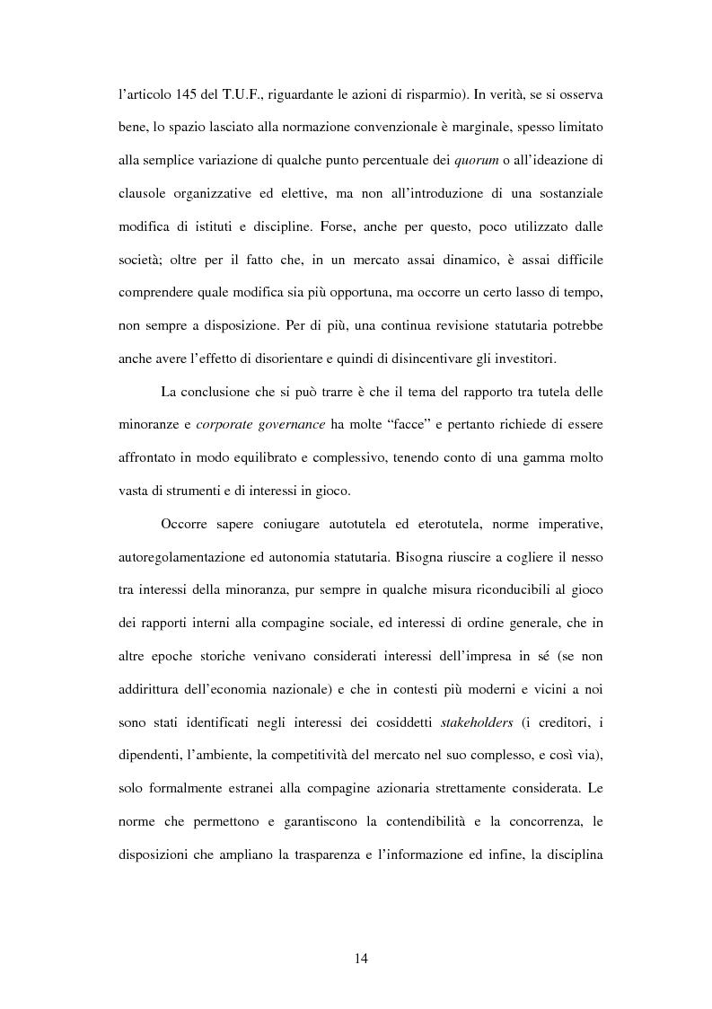 Anteprima della tesi: Tutela delle minoranze: azione sociale di responsabilità, Pagina 14