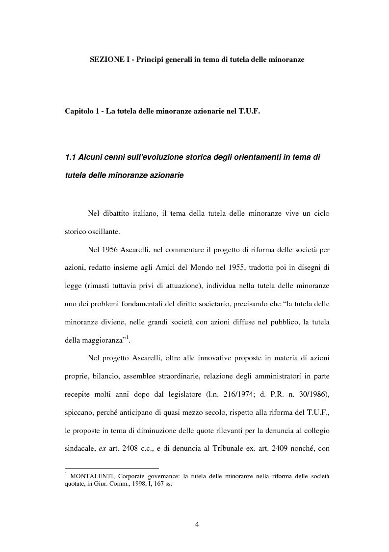 Anteprima della tesi: Tutela delle minoranze: azione sociale di responsabilità, Pagina 4