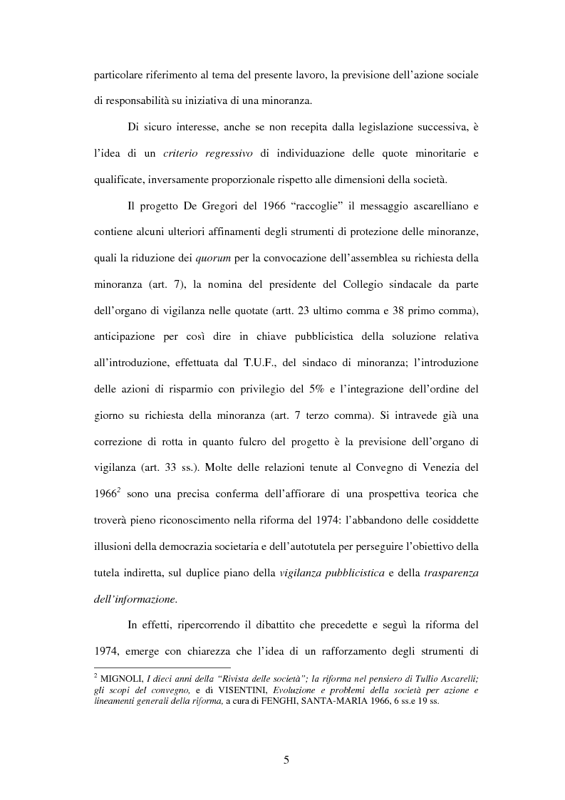Anteprima della tesi: Tutela delle minoranze: azione sociale di responsabilità, Pagina 5