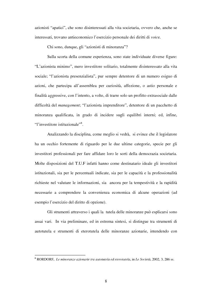 Anteprima della tesi: Tutela delle minoranze: azione sociale di responsabilità, Pagina 8