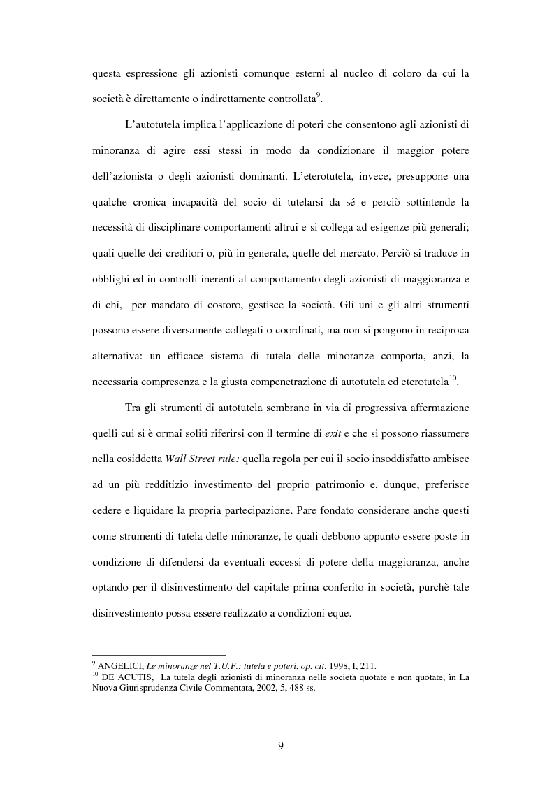 Anteprima della tesi: Tutela delle minoranze: azione sociale di responsabilità, Pagina 9
