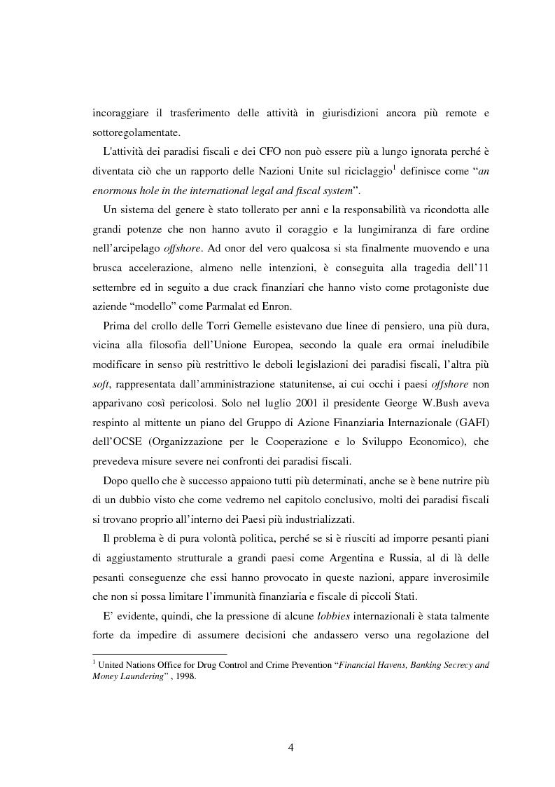 Anteprima della tesi: Paradisi fiscali e centri finanziari offshore: uso e abuso nei casi Parmalat ed Enron, Pagina 4