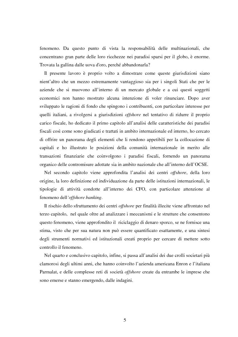 Anteprima della tesi: Paradisi fiscali e centri finanziari offshore: uso e abuso nei casi Parmalat ed Enron, Pagina 5