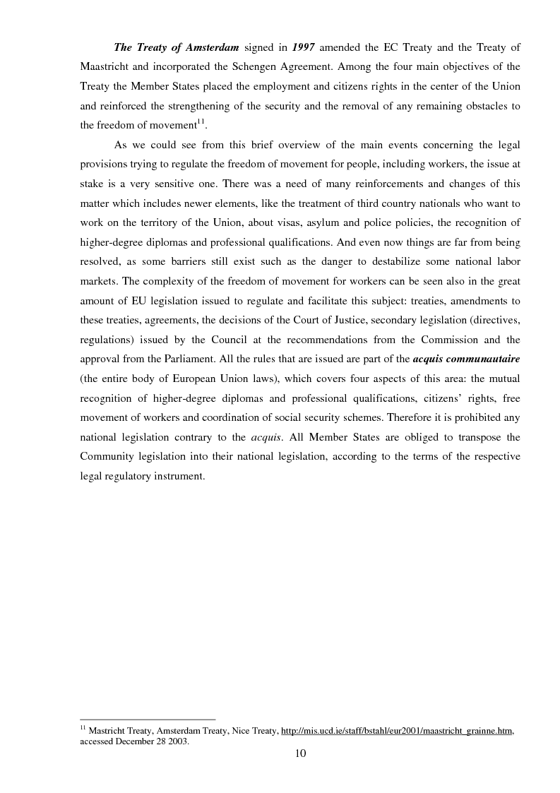 Anteprima della tesi: The freedom of movement of workers in the context of an enlarged European Union labor market: Case study on Italy and Romania, Pagina 10