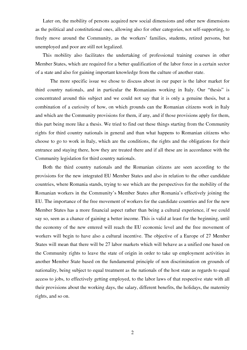 Anteprima della tesi: The freedom of movement of workers in the context of an enlarged European Union labor market: Case study on Italy and Romania, Pagina 2