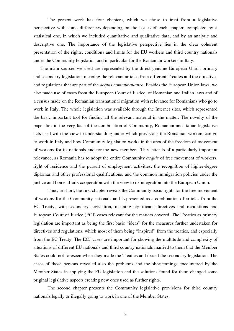 Anteprima della tesi: The freedom of movement of workers in the context of an enlarged European Union labor market: Case study on Italy and Romania, Pagina 3