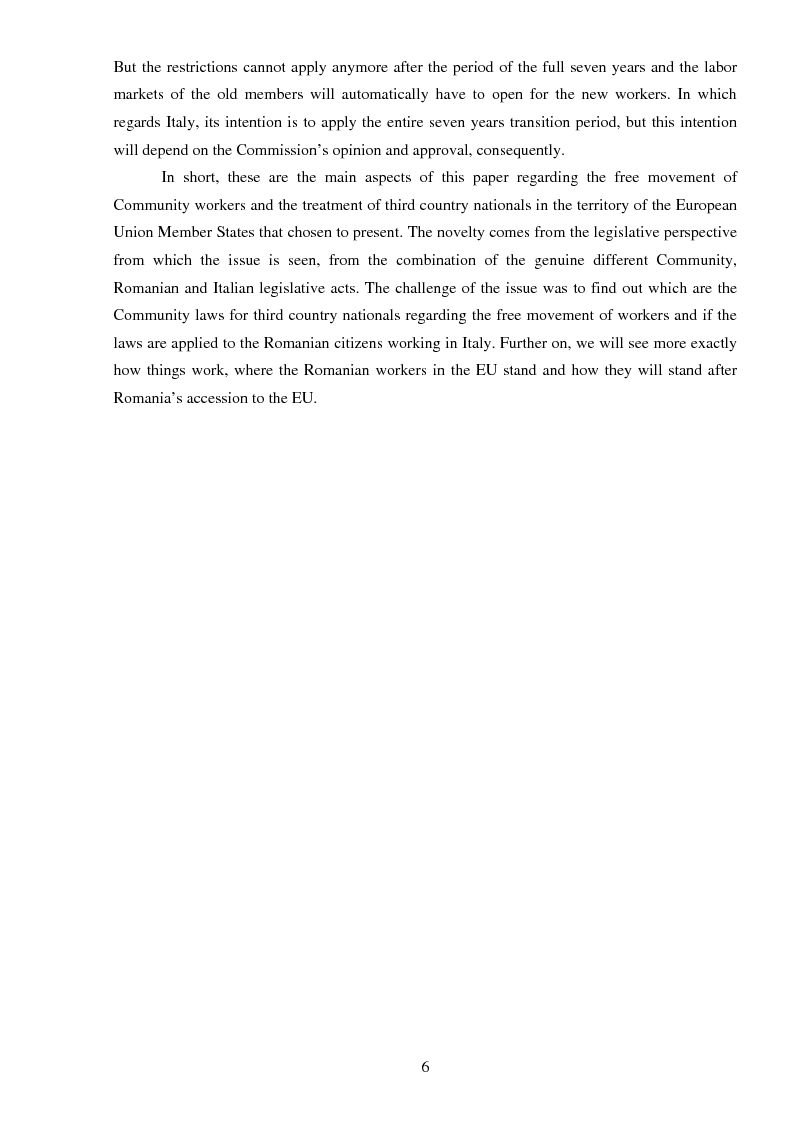 Anteprima della tesi: The freedom of movement of workers in the context of an enlarged European Union labor market: Case study on Italy and Romania, Pagina 6