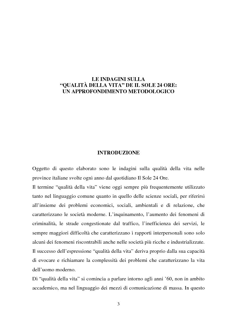 Anteprima della tesi: Le indagini sulla ''qualità della vita'' de Il Sole 24 Ore. Un approfondimento metodologico, Pagina 1