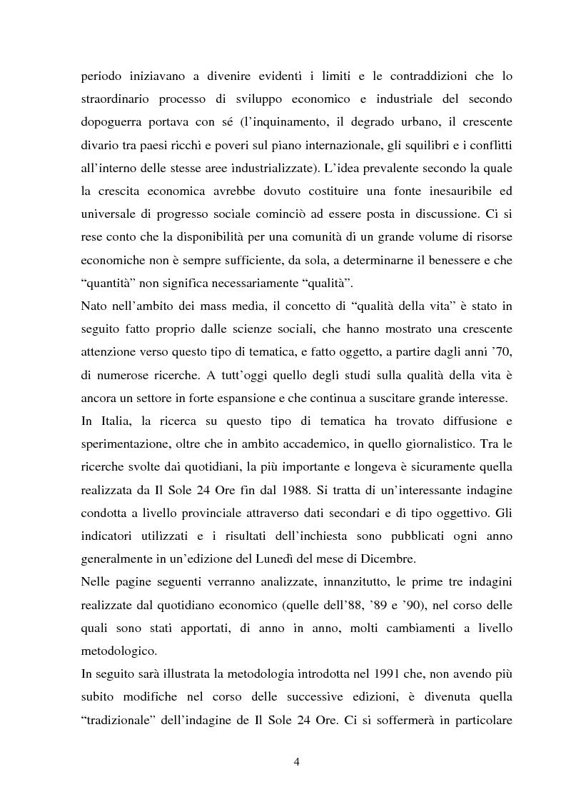 Anteprima della tesi: Le indagini sulla ''qualità della vita'' de Il Sole 24 Ore. Un approfondimento metodologico, Pagina 2