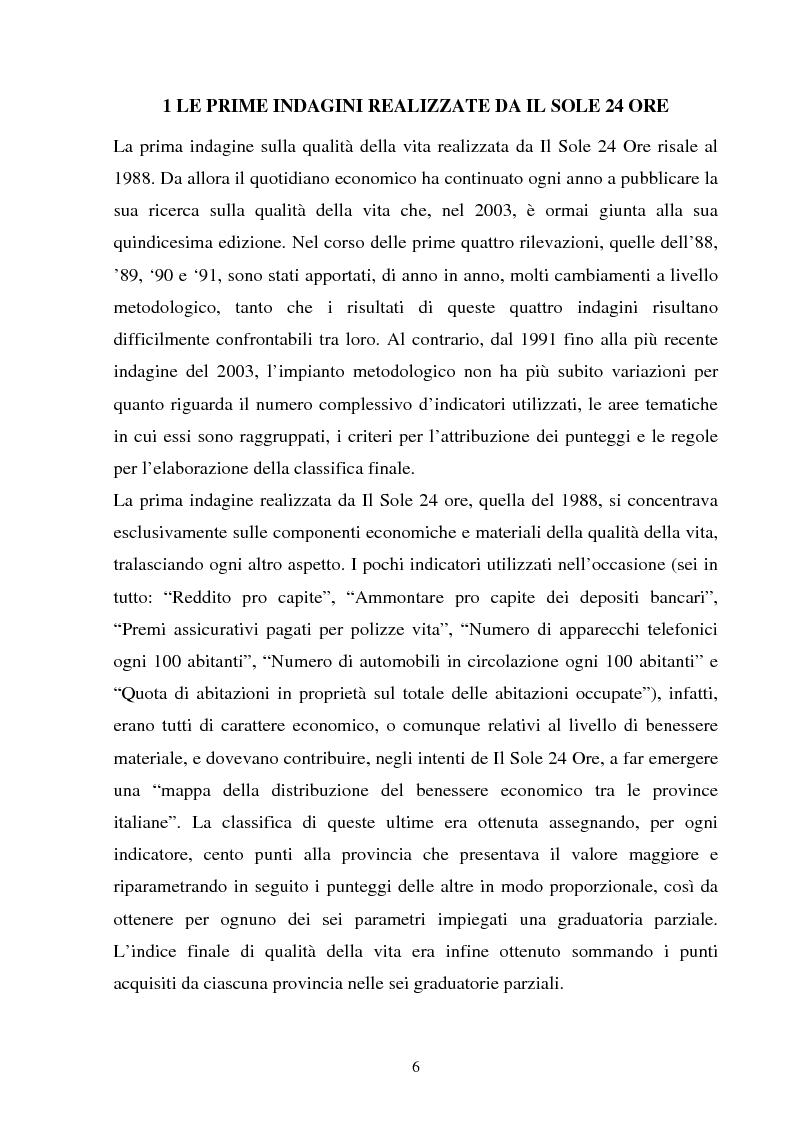 Anteprima della tesi: Le indagini sulla ''qualità della vita'' de Il Sole 24 Ore. Un approfondimento metodologico, Pagina 4