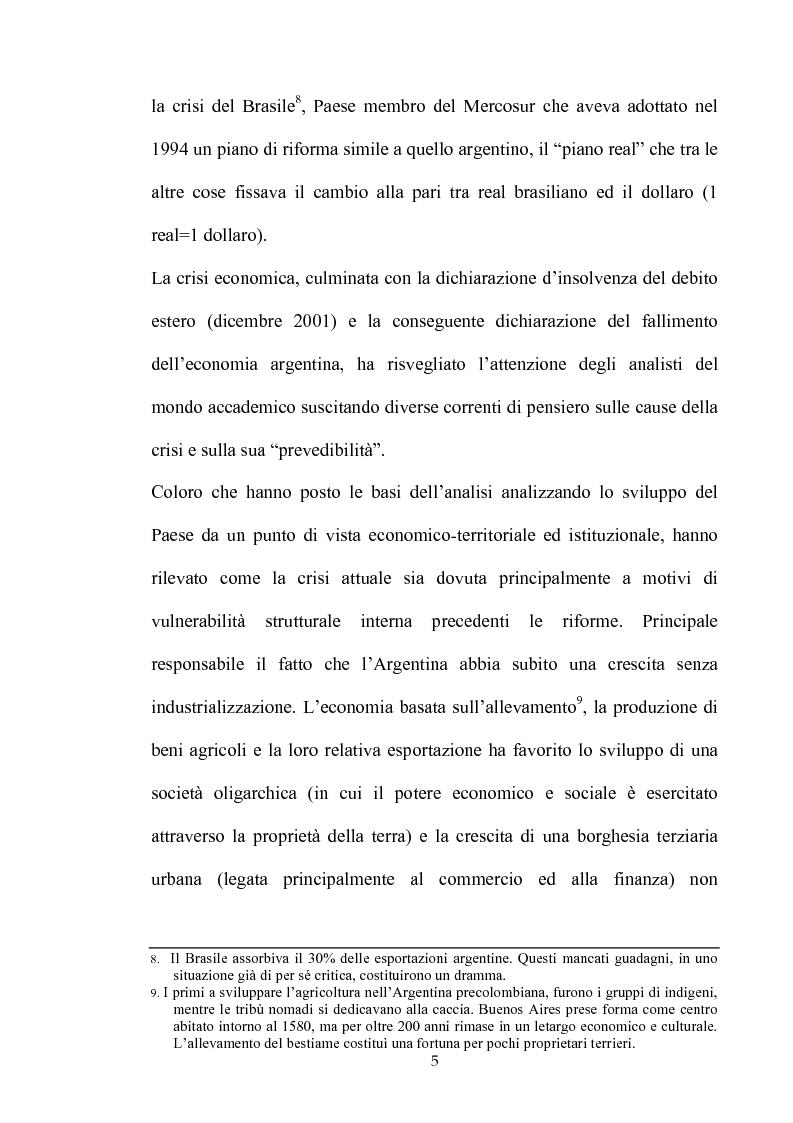 Anteprima della tesi: Dinamiche dello sviluppo in Argentina (1990-2000): relativi problemi di misurazione e proposte, Pagina 4