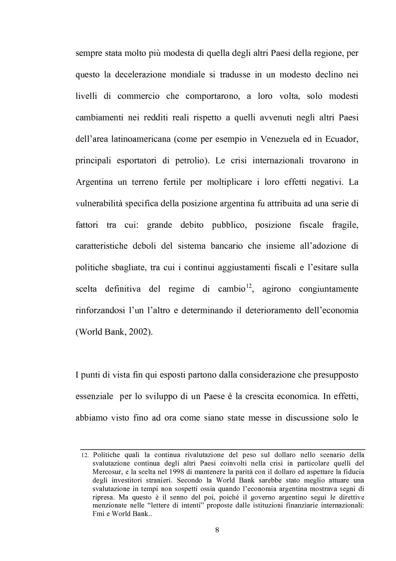 Anteprima della tesi: Dinamiche dello sviluppo in Argentina (1990-2000): relativi problemi di misurazione e proposte, Pagina 7