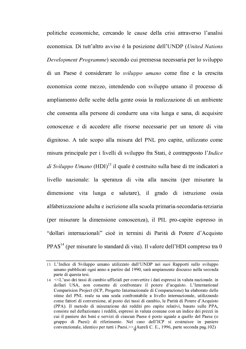 Anteprima della tesi: Dinamiche dello sviluppo in Argentina (1990-2000): relativi problemi di misurazione e proposte, Pagina 8