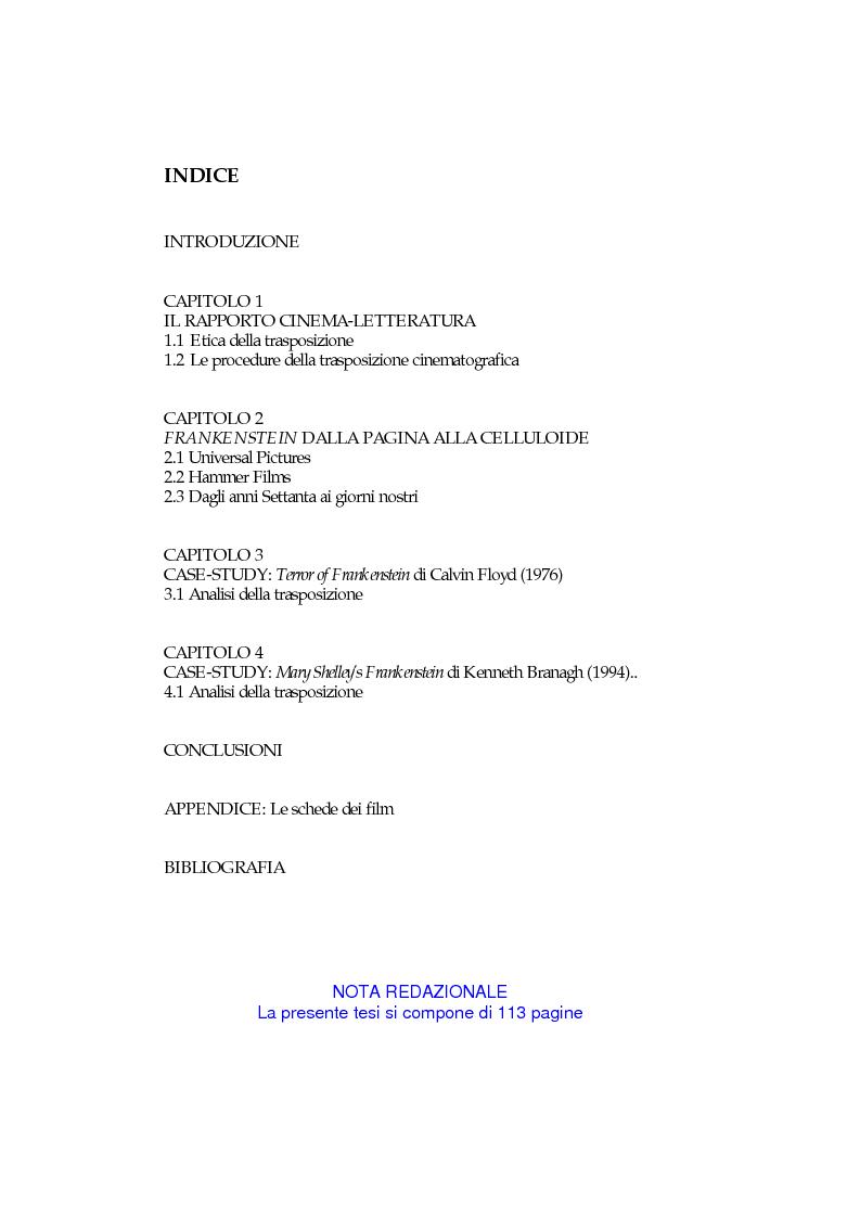 Indice della tesi: La metamorfosi di Frankenstein. Adattamenti e trasposizioni dal romanzo di Mary Shelley., Pagina 1