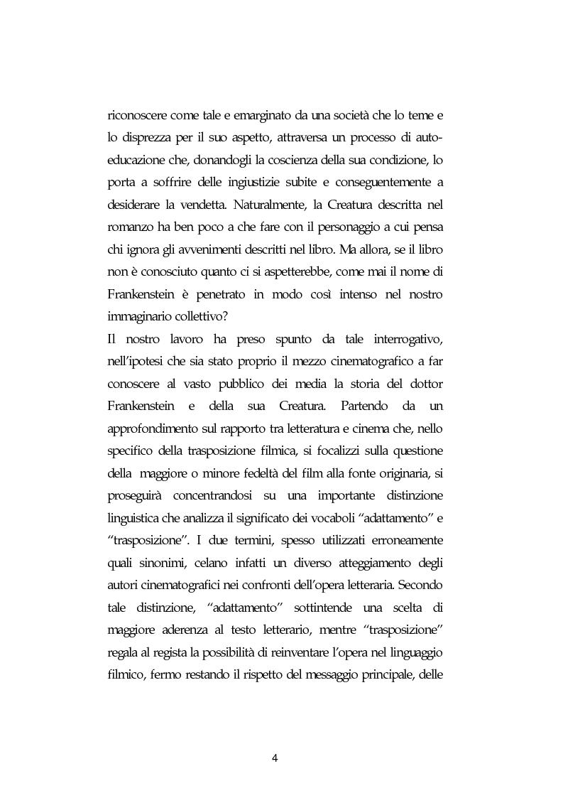 Anteprima della tesi: La metamorfosi di Frankenstein. Adattamenti e trasposizioni dal romanzo di Mary Shelley., Pagina 4