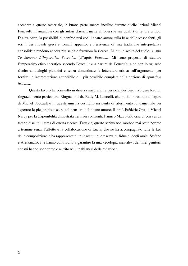 Anteprima della tesi: ''Cura Te Stesso'': L'imperativo socratico (d')après Foucault, Pagina 2