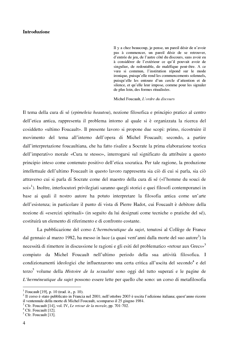 Anteprima della tesi: ''Cura Te Stesso'': L'imperativo socratico (d')après Foucault, Pagina 4
