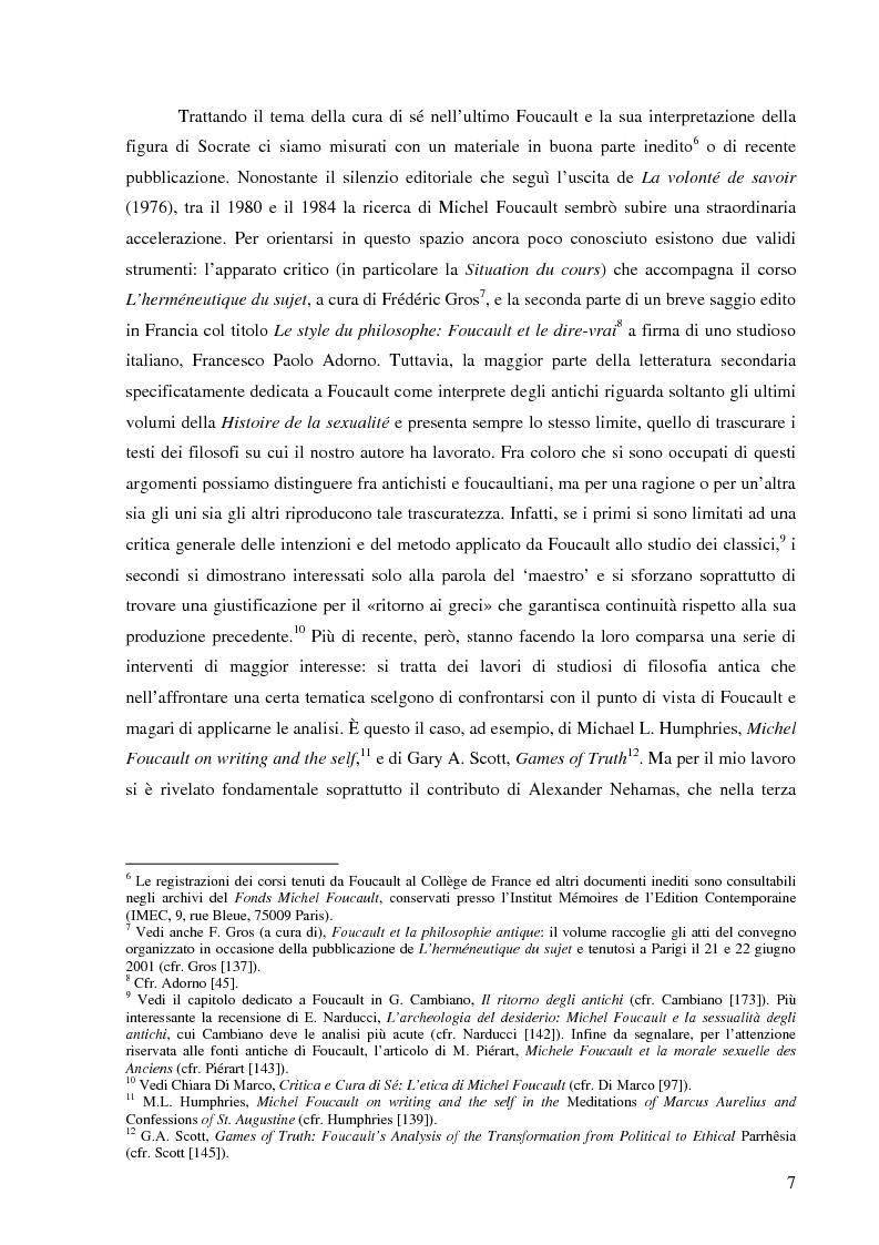 Anteprima della tesi: ''Cura Te Stesso'': L'imperativo socratico (d')après Foucault, Pagina 7