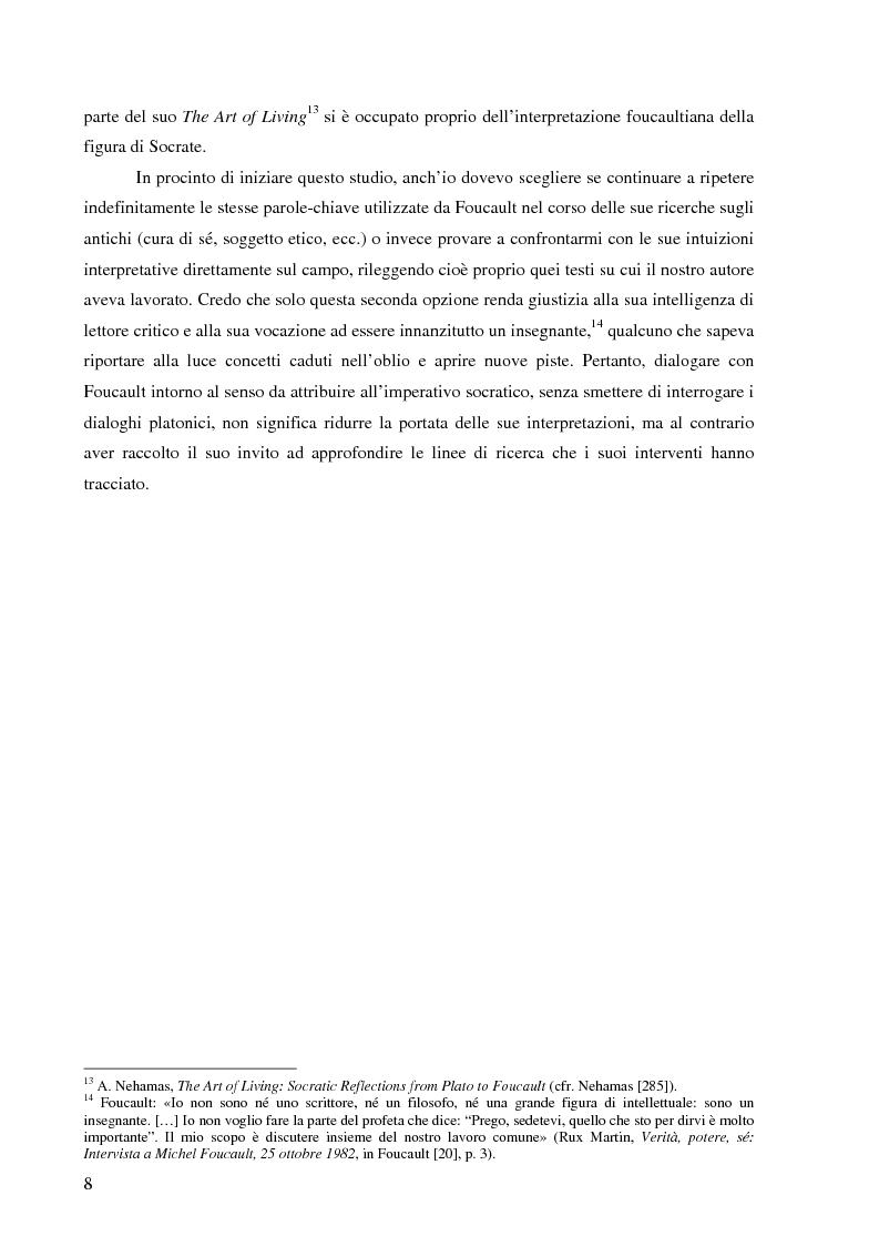 Anteprima della tesi: ''Cura Te Stesso'': L'imperativo socratico (d')après Foucault, Pagina 8