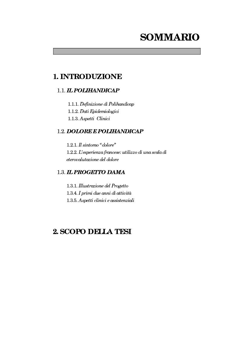 Indice della tesi: Proposta di una scala di eterovalutazione del dolore nel disabile grave portatore di polihandicap: l'esperienza del Progetto DAMA, Pagina 1