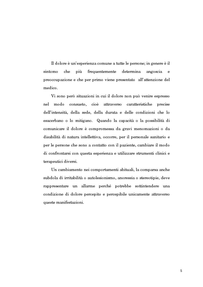 Anteprima della tesi: Proposta di una scala di eterovalutazione del dolore nel disabile grave portatore di polihandicap: l'esperienza del Progetto DAMA, Pagina 2