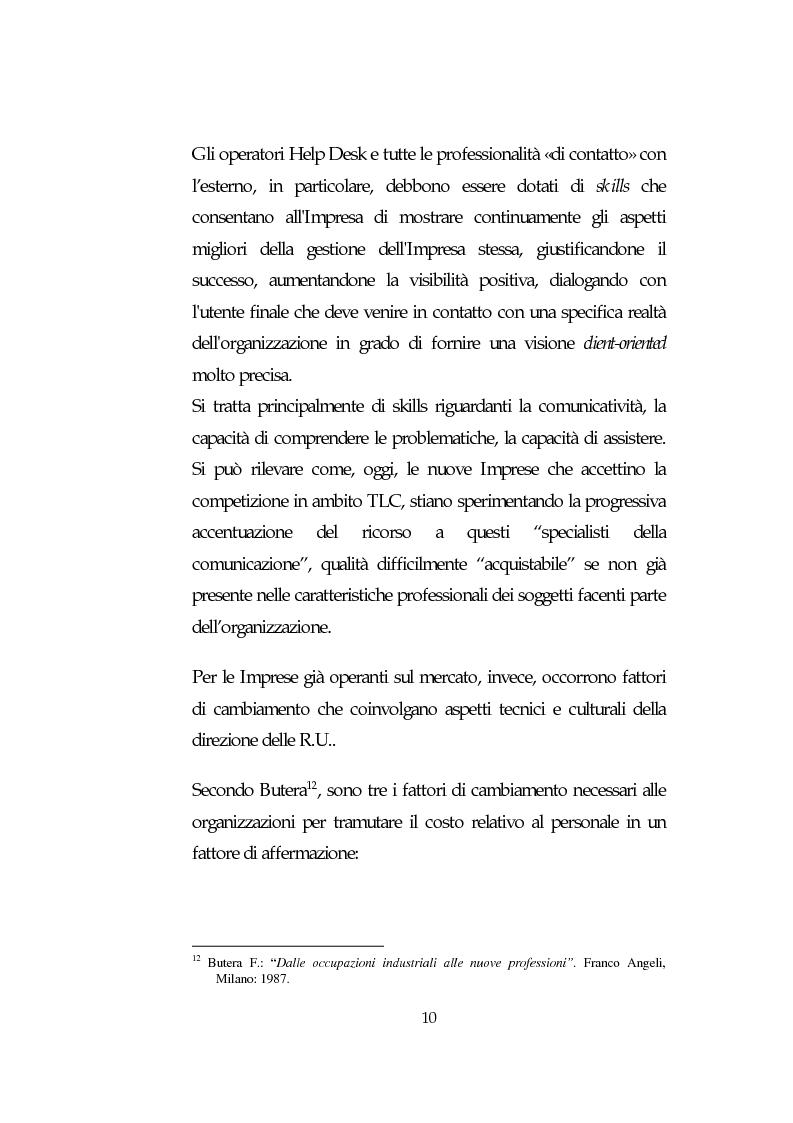 Anteprima della tesi: Le Risorse Umane quale fattore strategico nella competizione aziendale futura: le aziende di TLC., Pagina 10