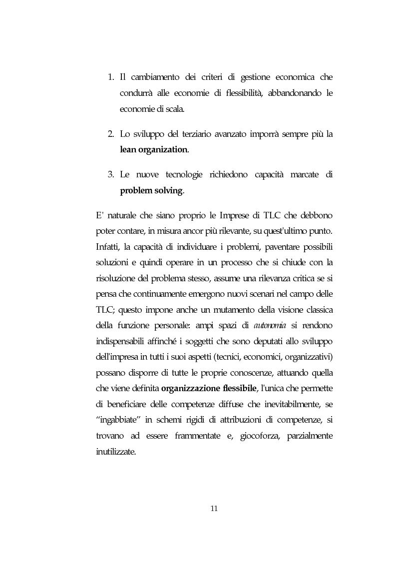 Anteprima della tesi: Le Risorse Umane quale fattore strategico nella competizione aziendale futura: le aziende di TLC., Pagina 11