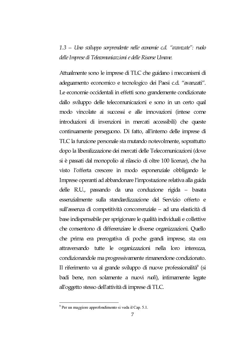 Anteprima della tesi: Le Risorse Umane quale fattore strategico nella competizione aziendale futura: le aziende di TLC., Pagina 7