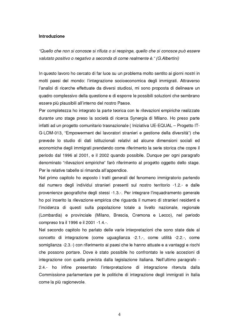 Anteprima della tesi: Integrazione socioeconomica degli immigrati in Lombardia, Pagina 1