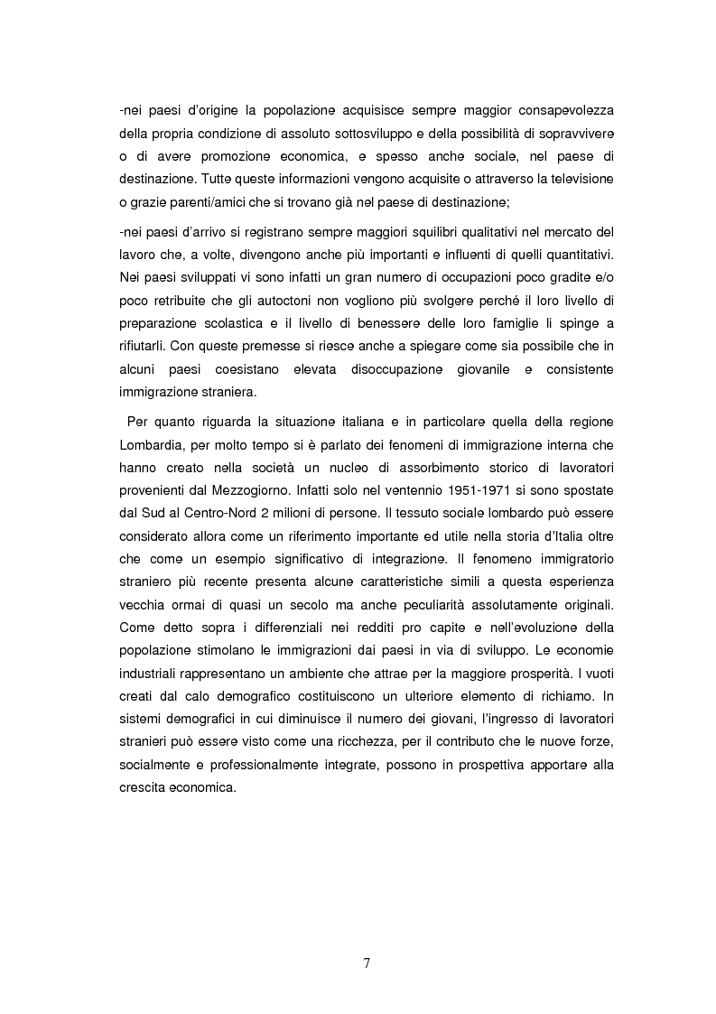 Anteprima della tesi: Integrazione socioeconomica degli immigrati in Lombardia, Pagina 4