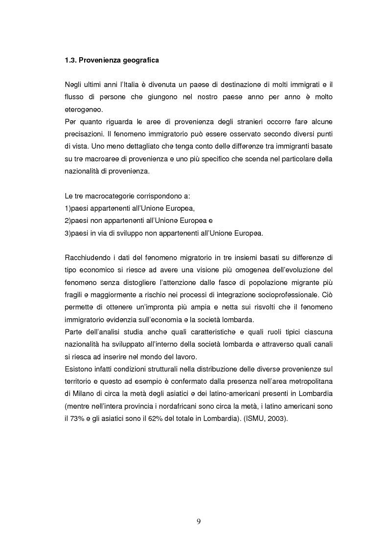 Anteprima della tesi: Integrazione socioeconomica degli immigrati in Lombardia, Pagina 6