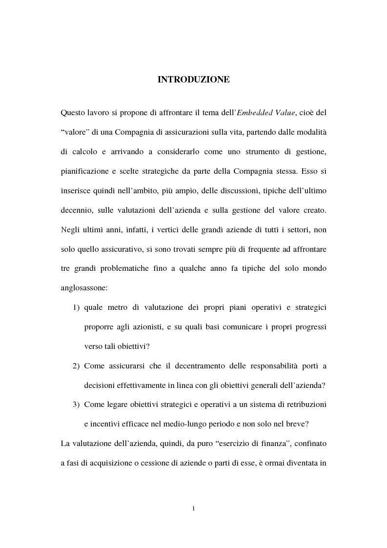 Anteprima della tesi: L'Embedded Value come strumento nelle scelte strategiche di una compagnia vita, Pagina 1