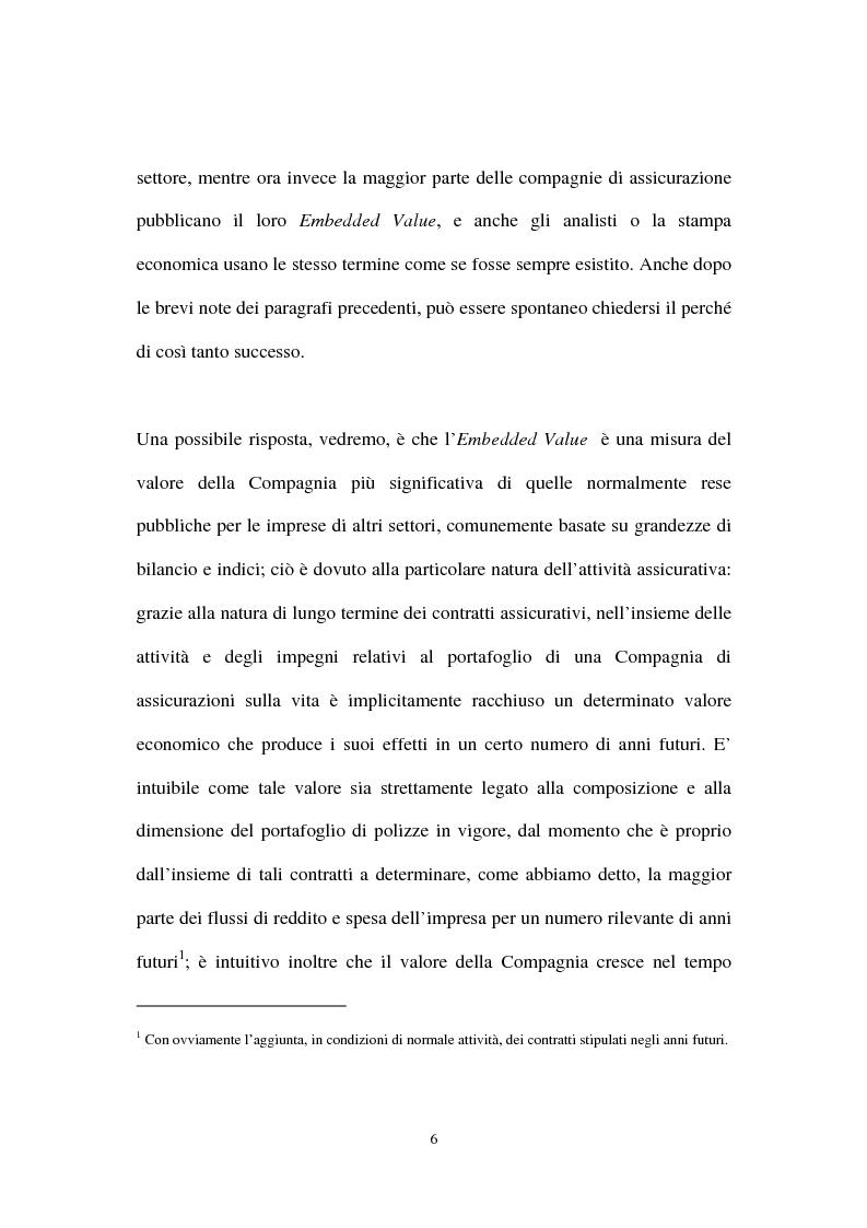 Anteprima della tesi: L'Embedded Value come strumento nelle scelte strategiche di una compagnia vita, Pagina 6