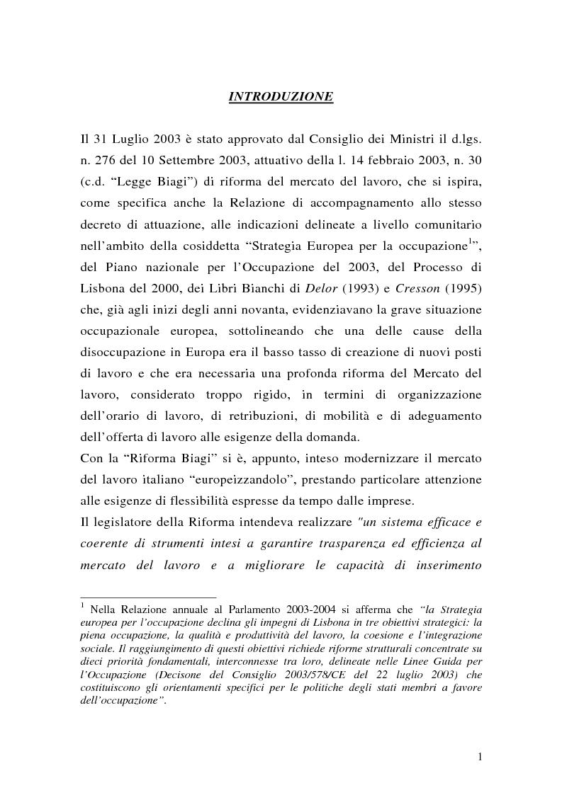 Anteprima della tesi: Le collaborazioni coordinate e continuative a progetto e i rapporti occasionali. profili previdenziali e assicurativi., Pagina 1