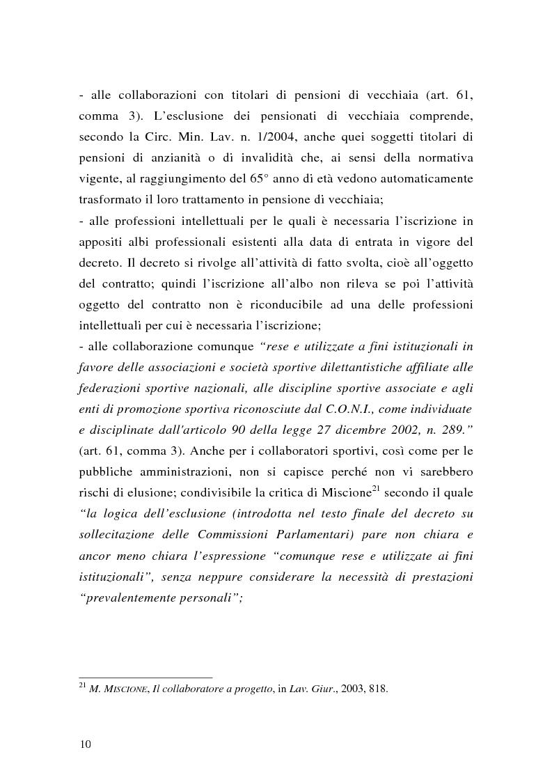 Anteprima della tesi: Le collaborazioni coordinate e continuative a progetto e i rapporti occasionali. profili previdenziali e assicurativi., Pagina 10