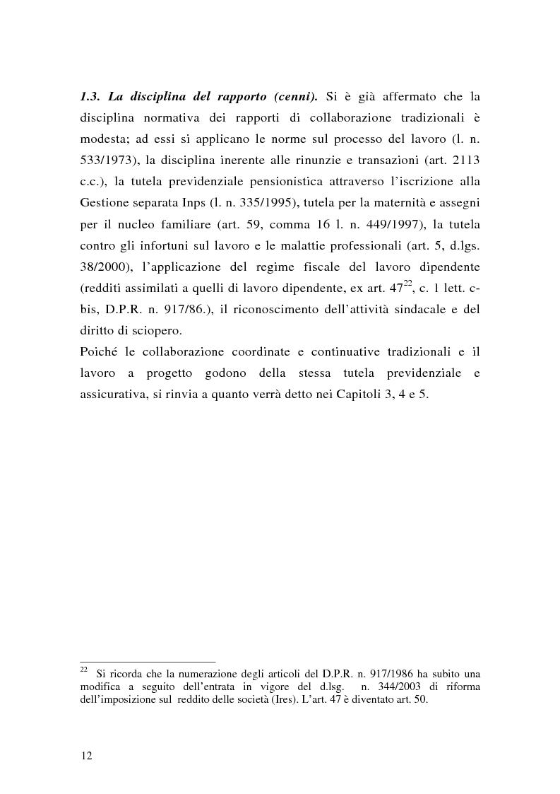 Anteprima della tesi: Le collaborazioni coordinate e continuative a progetto e i rapporti occasionali. profili previdenziali e assicurativi., Pagina 12