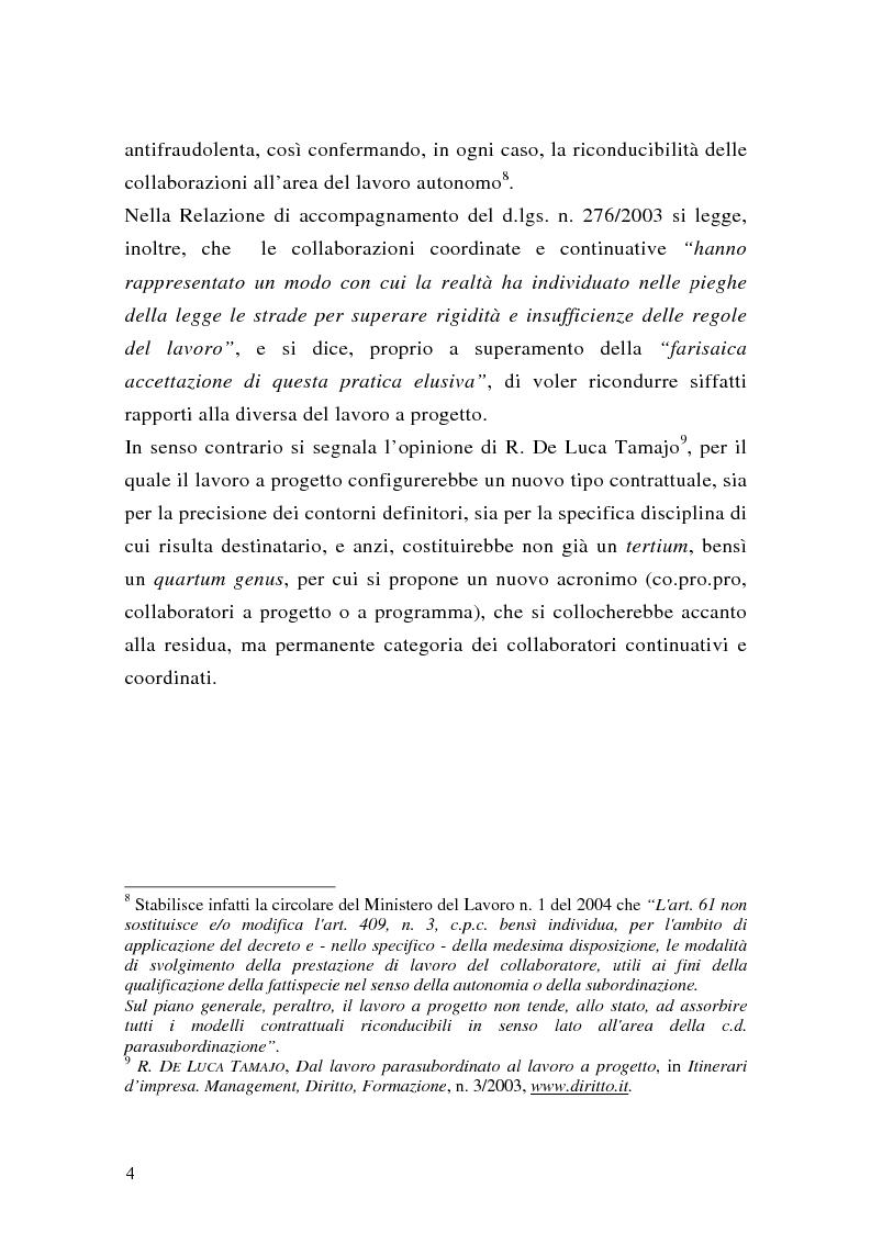 Anteprima della tesi: Le collaborazioni coordinate e continuative a progetto e i rapporti occasionali. profili previdenziali e assicurativi., Pagina 4