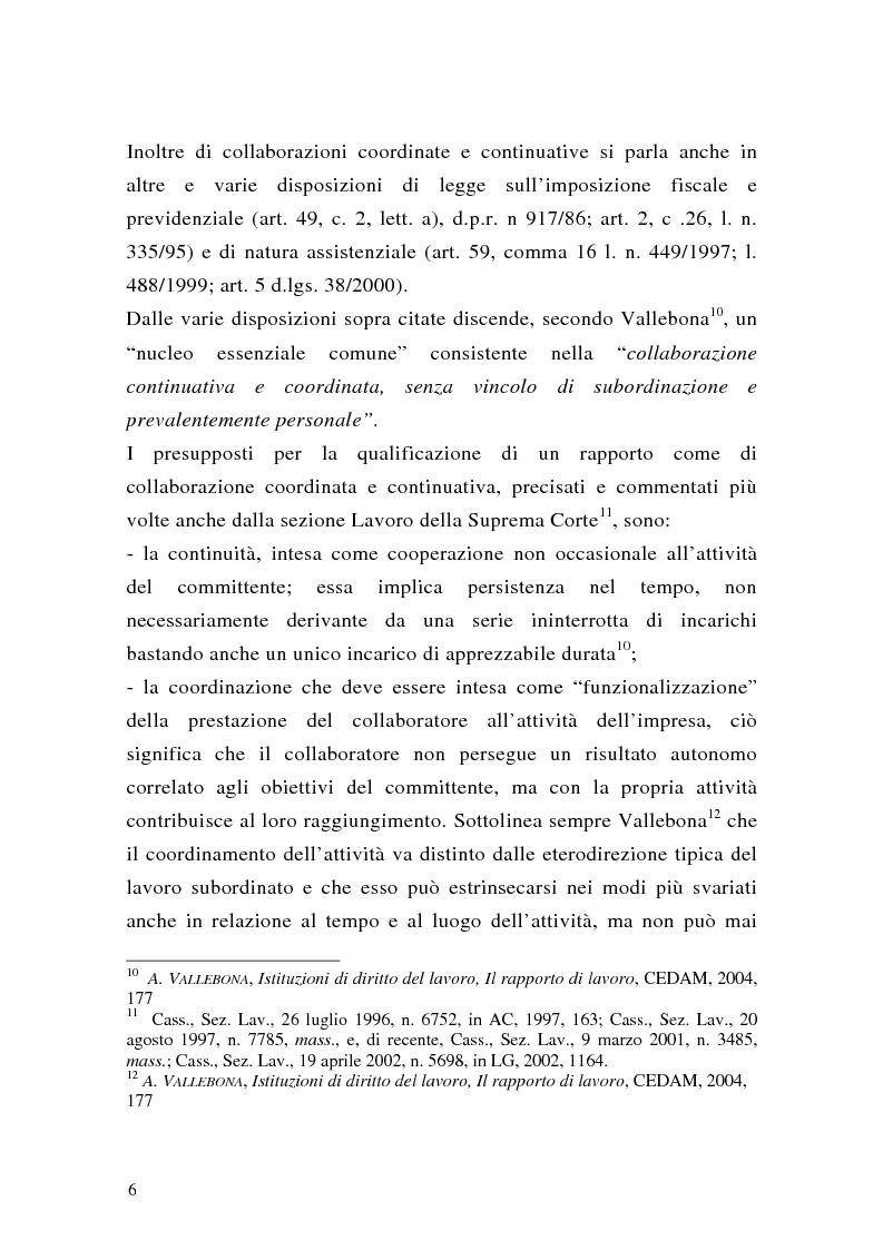 Anteprima della tesi: Le collaborazioni coordinate e continuative a progetto e i rapporti occasionali. profili previdenziali e assicurativi., Pagina 6