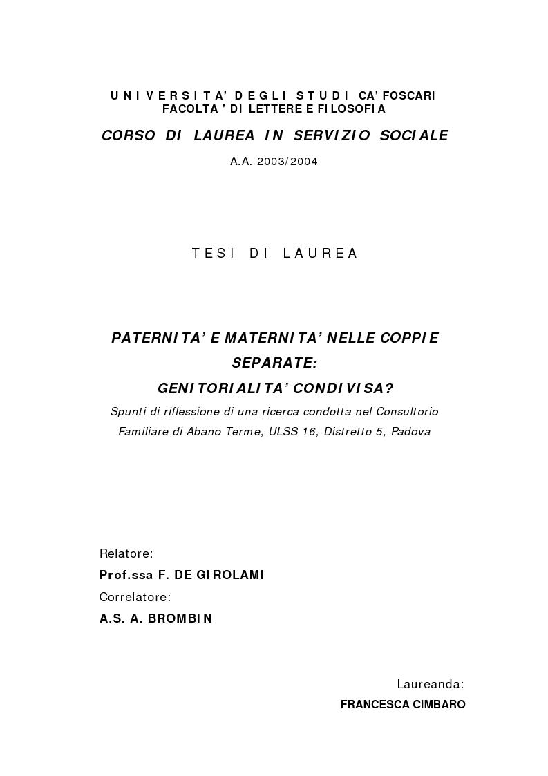Anteprima della tesi: Paternità e maternità nelle coppie separate: genitorialità condivisa?, Pagina 1