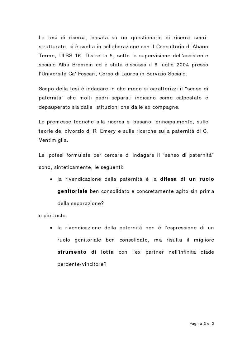 Anteprima della tesi: Paternità e maternità nelle coppie separate: genitorialità condivisa?, Pagina 2