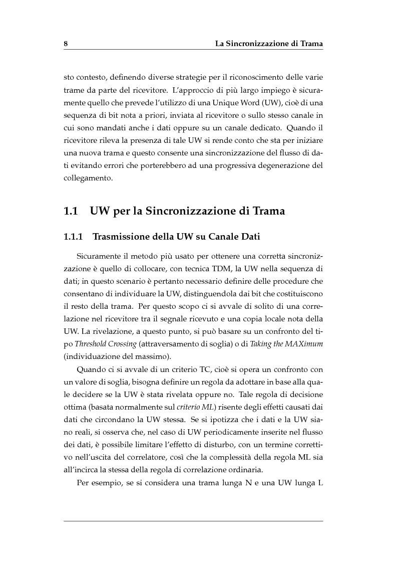 Anteprima della tesi: Sincronizzazione di Trama Non Coerente in Presenza di Errore di Frequenza, Pagina 6