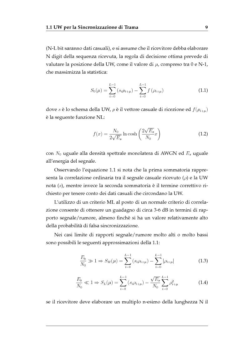 Anteprima della tesi: Sincronizzazione di Trama Non Coerente in Presenza di Errore di Frequenza, Pagina 7