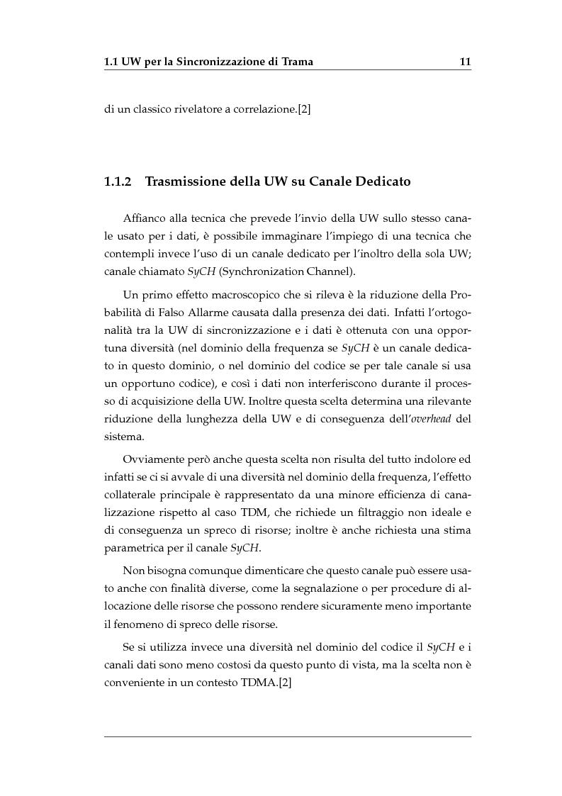 Anteprima della tesi: Sincronizzazione di Trama Non Coerente in Presenza di Errore di Frequenza, Pagina 9