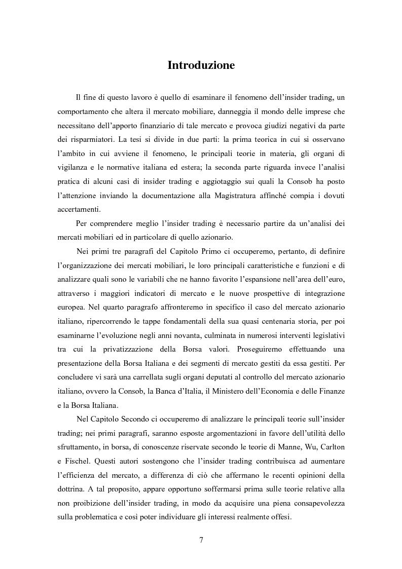 Anteprima della tesi: Insider trading ed efficienza dei mercati finanziari. L'impatto dell'evoluzione della normativa di riferimento in Italia., Pagina 1