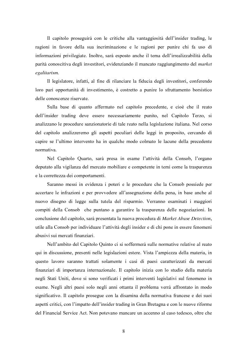 Anteprima della tesi: Insider trading ed efficienza dei mercati finanziari. L'impatto dell'evoluzione della normativa di riferimento in Italia., Pagina 2