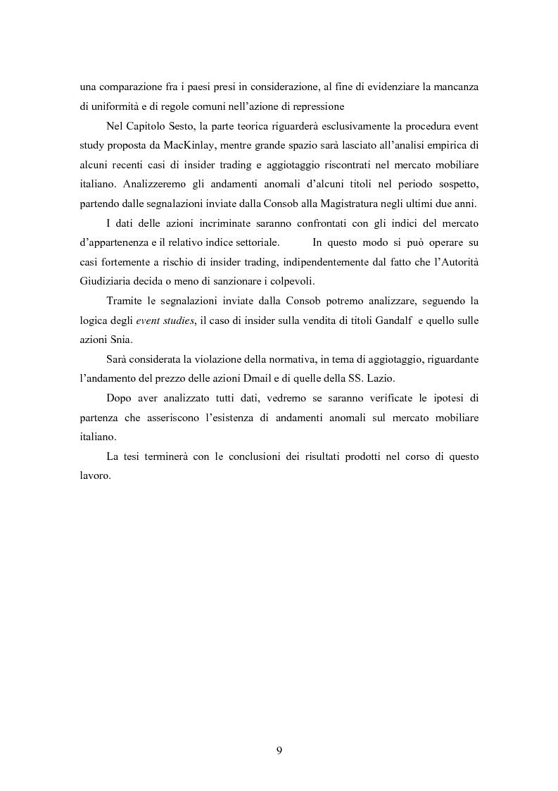 Anteprima della tesi: Insider trading ed efficienza dei mercati finanziari. L'impatto dell'evoluzione della normativa di riferimento in Italia., Pagina 3