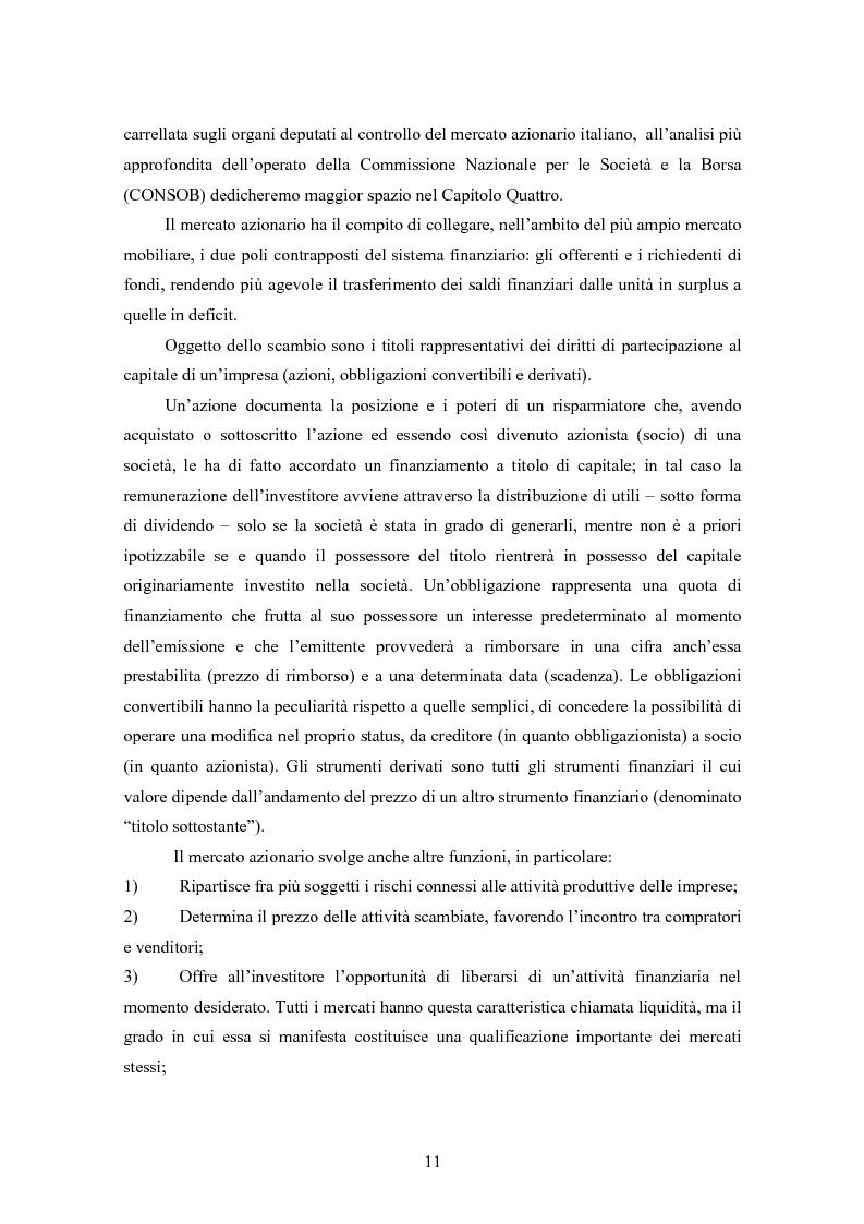 Anteprima della tesi: Insider trading ed efficienza dei mercati finanziari. L'impatto dell'evoluzione della normativa di riferimento in Italia., Pagina 5