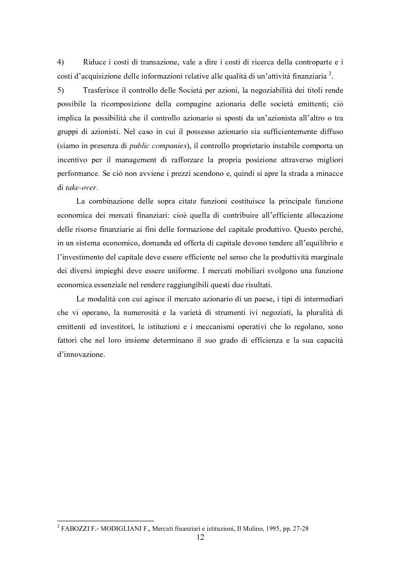 Anteprima della tesi: Insider trading ed efficienza dei mercati finanziari. L'impatto dell'evoluzione della normativa di riferimento in Italia., Pagina 6