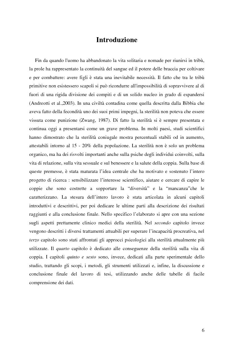 Anteprima della tesi: Aspetti psicologici e relazionali in coppie infertili che si sottopongono a tecniche di procreazione medicalmente assistita, Pagina 1