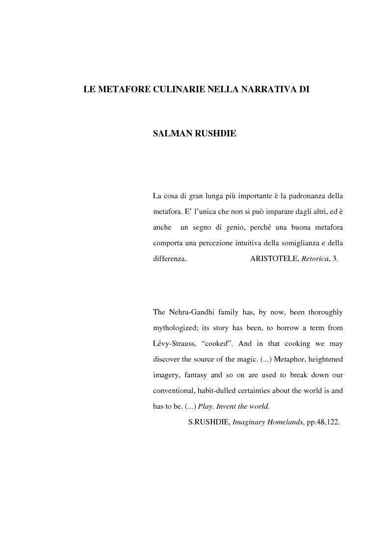 Anteprima della tesi: Le metafore culinarie nella narrativa di Salman Rushdie, Pagina 1